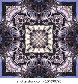 art eastern ornamental traditional pattern, background in violet, white and black colors