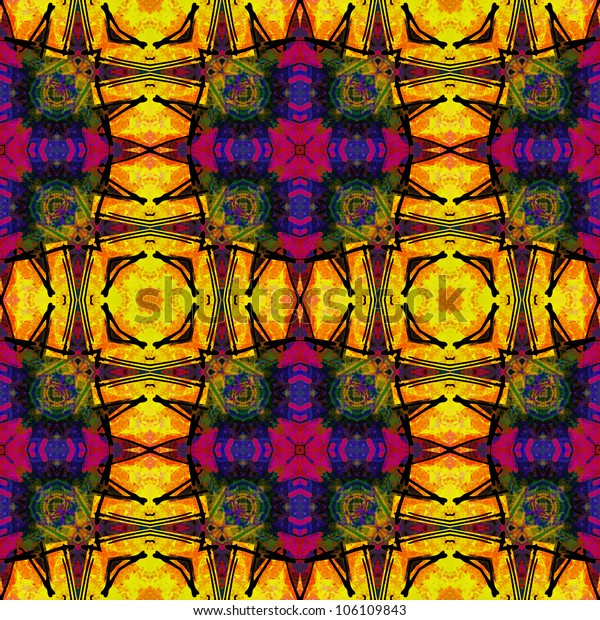 art eastern ornamental traditional tiled pattern in bright gold, purple, green and blue colors