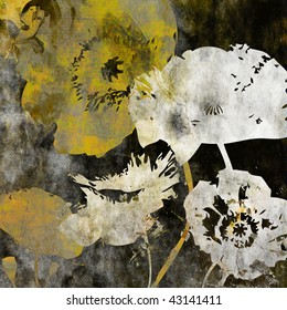 art floral vintage background with big stylized poppies in gold, white and black colors