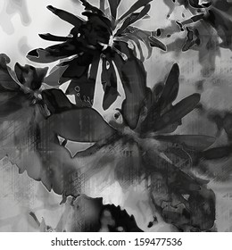 art floral vintage black, grey and white monochrome watercolor and graphic background with asters and peonies