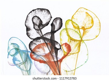 Art Flower Abstract. Hand watercolor painting on paper.