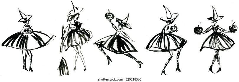 Art freehand watercolor sketch outline illustration collage of five black halloween holiday symbol character of funny witch in dress and hat with pumpkins and broom on white background, horizontal