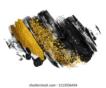 Art and Gold. Black paint stroke texture on white paper. Abstract hand painted golden background for greeting, gift, wedding, invitation, birthday card. Magic abstract artwork.