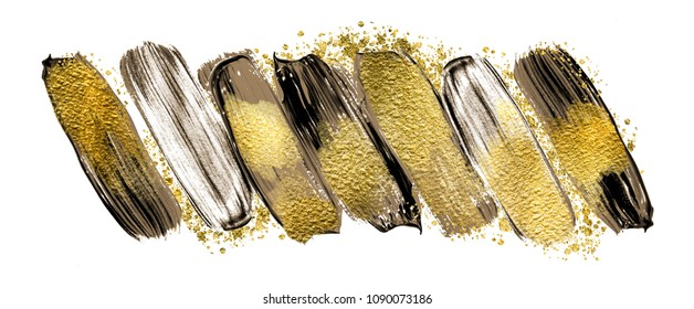 Art and Gold. Magic art. Trendy color with golden paint and glitters.  A painting for the wall. Very beautiful abstract rich painting.