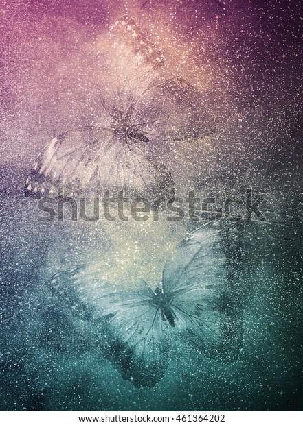 Art golden paper background with butterflies