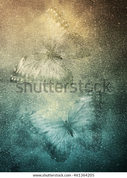 Art golden paper background with butterflies