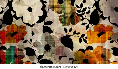 art graphic and watercolor autumn colorful background with sketching leaves and flowers in black, gray and orange