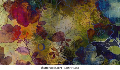art graphic and watercolor autumn colorful background with sketching leaves and flowers in blue, old gold, green and black colors