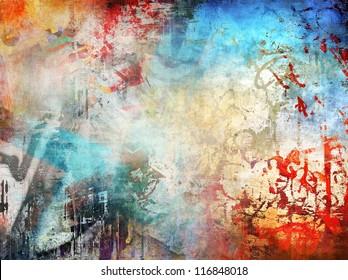 Art grunge illustration, colorful background