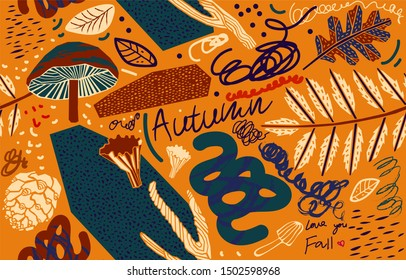 Art grunge seamless pattern with autumn leaves, and lettering on light orange background.