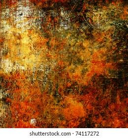 art grunge vintage textured background with bright golden yellow,, orange, red, white and black blots