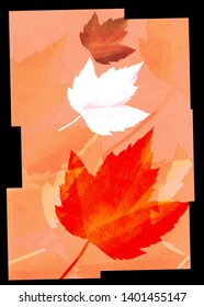 Art Illustration of autumn leaves, Image dimensions : 2900x4060px, 300dpi high resolution .jpg file. Home decoration, poster, wallpaper, background.