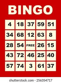 art illustration of one red bingo card