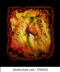 Art image incorporating a carousel horse, with a burnt edge effect, glow effect and black background.
