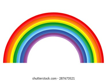 Art isolated rainbow color abstract paint on white background