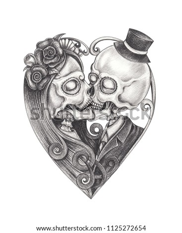 Art Kiss Couple Skulls Day Of The Dead Hand Pencil Drawing On Paper