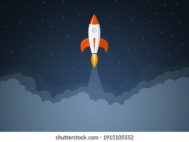 Art launch rocket with sky space. Startup concept.