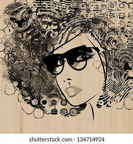 art monochrome black sketching beautiful girl face with glass and funky curly hair on sepia background. Vector version is also in my gallery.