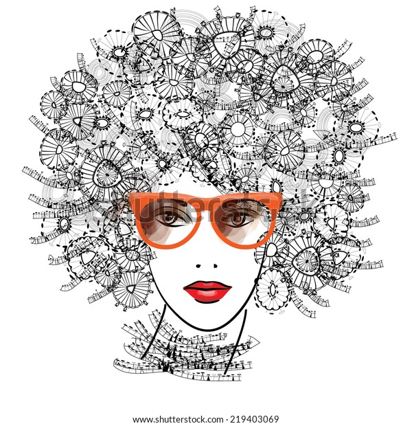 art monochrome sketched beautiful girl face with eyeglasses, red lips and funky curly hairs in black graphic isolated on white background