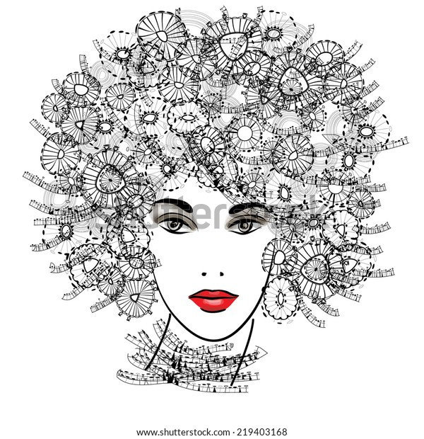 art monochrome sketched beautiful girl face with funky curly hairs and red lips in black graphic isolated on white background