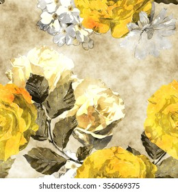 art monochrome watercolor vintage floral seamless pattern with gold yellow and white roses, phlox and asters on beige background