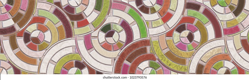 Art mosaic- stones and marble. Home decor: floor, abstract geometric background. Wall intricate pattern- room interior