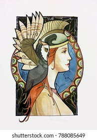 Art nouveau owl Athena sky illustration