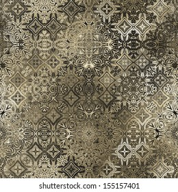 art ornamental vintage seamless pattern, monochrome background in beige, brown, grey, white and black colors