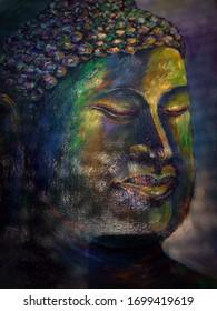 Art painting Acrylic color Buddha statue