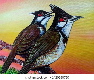 Art painting Acrylic color Spigot bird