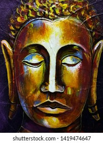 Art painting Oil color Buddha statue