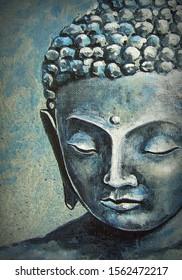 Art painting Oil color Buddha statue Thai land