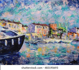 Art painting of Port Grimaud  in France