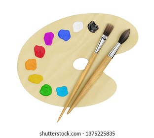 Art Painting Supplies. Set of artist's creative tools (a palette with paint drops and paintbrushes) isolated on white background. 3D rendering graphics.