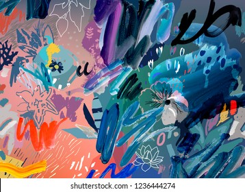 Art poster. Artistic creative floral template with paint strokes