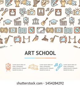 Art School Concept Infographics Banner Include of Camera, Photo, Cinema, Museum, Monument and Guitar Line Icons. illustration