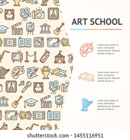 Art School Concept Infographics Banner witch Color Outline Icons for Promotion and Advertising Culture Creative Service. illustration