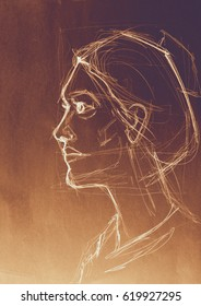 Art sketched beautiful girl face in profile. Drawing illustration.