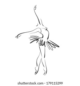 art sketched beautiful young ballerina in ballet pose on studio. Vector version is also in my gallery.