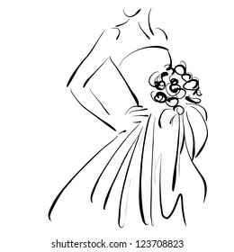 art sketching beautiful young  bride with the bride's bouquet. Vector version is also in my gallery.