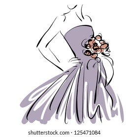 art sketching beautiful young  bride in violet dress with the bride's bouquet on white background.  Vector version is also in my gallery.