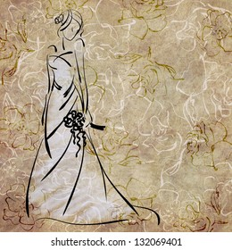 art sketching of beautiful young bride in white dress and with the bride's bouquet on floral sepia background, with space for text
