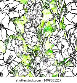 Art sketching of gladiolus flowers on a white background. Seamless pattern. Design of posters, paintings, postcards, textiles, fabrics, wallpapers, packaging.