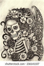 Art skull day of the dead. Hand drawing on paper.