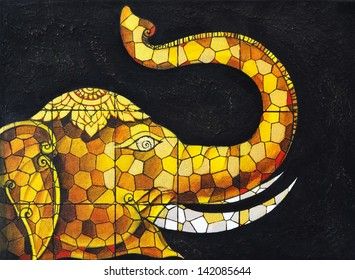 Art stained glass Elephant.Hand acrylic color painting on canvas.