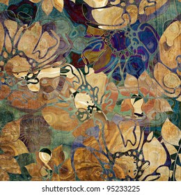 art stylized floral ornamental grunge background in beige, brown and blue colors