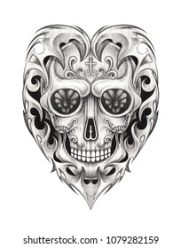 Art Sugar Skull mix Heart Tattoo. Hand pencil drawing on paper.