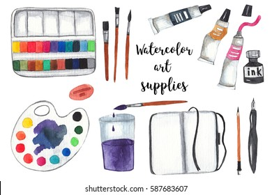 Art supplies on white isolated background. Paints, palette, brushes, ink, sketchbook, pencil and pen. Watercolor illustration