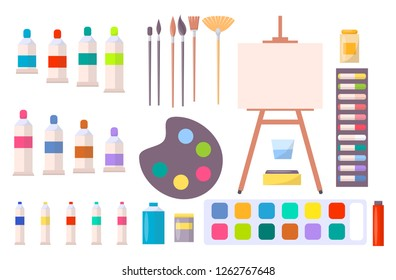 Art supplies raster illustration with icons of easel, different brushes, various paints and other tools and instruments for painting in cartoon style