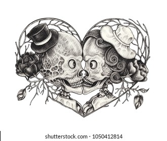 Art Surreal Kiss Skull .Hand pencil drawing on paper.